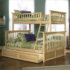 Columbia Style Twin Over Full Bunk Bed with Trundle in Natural Maple By Atlantic Furniture B-