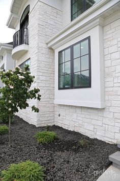 limestone exterior mixed with stucco