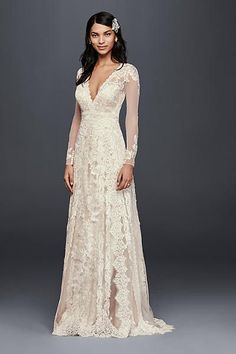 Do you dream of wearing a long sleeve wedding dress on your big day? Shop David's Bridal wide variety of wedding gowns with sleeves in lace & other designs! Boho Wedding Dress With Sleeves, New Wedding Dresses, Wedding Attire, Dresses With Sleeves, Ivory Lace Wedding Dress, Wedding Dress Petite, Vintage Dress Wedding, Over 50 Wedding Dress, Wedding Dress Sheath