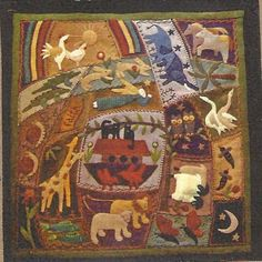 Primitive Folk Art Wool Applique Pattern Wool Ark Crazy, seller, PrimFolkArtShop, etsy