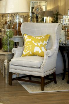 Wingback Chair with Yellow Pillow Upholstered Chairs, Wingback Chair, Yellow Pillows, Decorative Objects, Linen Fabric, Vignettes, Home Furnishings, Accent Chairs, Store