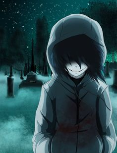 Jeff the killer<<< All I thought of when I saw this was my cousin Lauren last Halloween. Her makeup was fabulous!