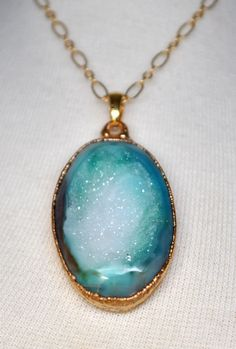 Mothers Day Sale Sea Blue Green and White Long Gold Druzy Necklace - Drusy Jewelry - Druzy Jewelry. $49.00, via Etsy.