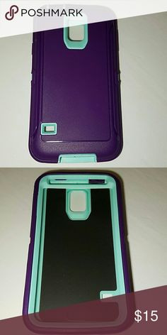 Galaxy s5 defender style Phone case Purple and mint blue heavy duty 3 in 1 phone case for Samsung Galaxy s5. Water and shock resistant. Comes with built in screen protector and belt clip holster that doubles as a phone stand. Accessories Phone Cases