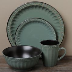 Tabletops Unlimited Beads Green 16-piece Dinnerware Set - Overstock™ Shopping - Great Deals & Tag Sonoma Slate Blue Dinnerware 16-piece Set (Tag Sonoma 16 pc ...