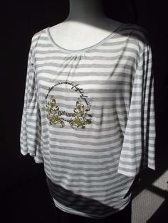 NWT! JOHN GALLIANO White Gray Striped Batwing Dolman Top T Shirt Sz M…