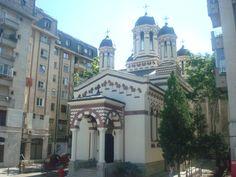 "Church "" Saint Ciprian"" ( Zlatari )from XVIII century,rebuild, on Calea Victoriei Boulevard. Beautiful Stories, Most Beautiful, Bucharest, Romania, Buildings, Saints, Mansions, History, House Styles"
