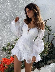 2019 New Arrivals Fashion Elegant Nylon White Long Sleeve Summer Women Mini Dress Party Dress Vestidos Wholesale Cute Dresses, Short Sleeve Dresses, Summer Dresses, Short White Dresses, Women's Dresses, Look Boho, White Mini Dress, Simple White Dress, Sexy White Dress