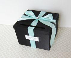 Wedding Card Box Black Tiffany Aqua Blue Money by ... | Wedding Plann ...