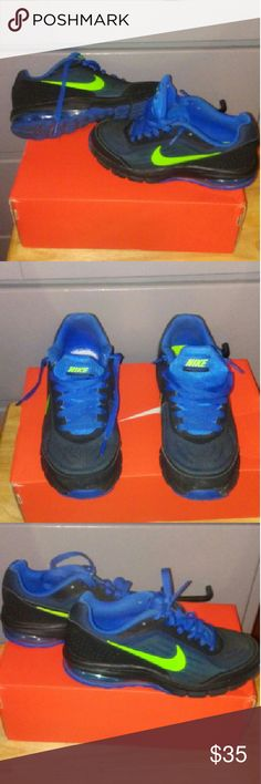 Nike Air Maximize (GS) Shoes are black,electric green and blue.shoes are in very good condition. Hardly been worn.One shoe has a missing inner sole. size:5Y Nike Air Max Shoes Sneakers