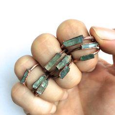 Aquamarine crystal ring | Raw aquamarine ring | March birthstone ring | March Birthstone jewelry | Aquamarine raw crystal ring by HAWKHOUSE on Etsy https://www.etsy.com/listing/251405655/aquamarine-crystal-ring-raw-aquamarine