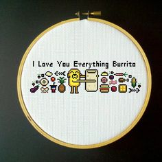 Adventure Time Cross Stitch, I Love You everything burrito
