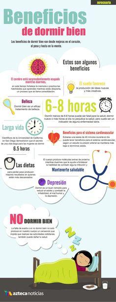 Descubre con esta infografía los beneficios de dormir bien. #infografia #dormir #salud necesito dormir del tirón :-/
