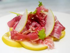 Jamon Iberico with poached and fresh apples, shaved radish & chive flowers at Ante, 1 Utama