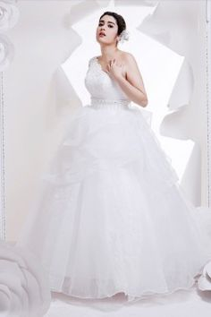 Ball Gown One Shoulder Floor-length Organza Fabric Plus Size Wedding Dresses With Beading Lace Style 15429128