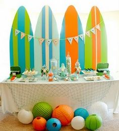surf party..I could use foam insulation board to so this and even do shark bite cut outs!!!