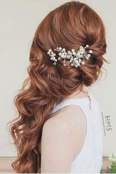 Gorgeous Wedding Hairstyles for Long Hair Hairstyles for Long Hair_Side-Swept Down Hairstyles for Long Hair_Side-Swept Down Style Long Hair Wedding Styles, Wedding Hair Down, Wedding Hair And Makeup, Wedding Updo, Wedding Hair Accessories, Trendy Wedding, Hair Makeup, Side Swept Hairstyles, Braided Hairstyles