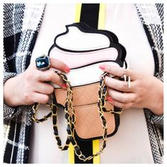 Ice Cream Clutch Crossbody Bag The cutest thing ever. Perfect condition. Used once for shoot as shown, for all of 5 minutes. Can be used as clutch as well as Crossbody. Best of all, it's calorie free. Sorry. I couldn't help myself. Bags Crossbody Bags