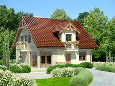 Drewniane elementy wykończenia elewacji poprawiają odczucia związane ze statecznością i dobrym nastrojem. Cabin Design, Home Fashion, Cottage, Mansions, House Styles, Dream Homes, Home Decor, Rustic Homes, Chalets
