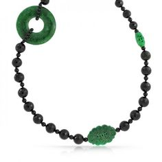 Bling Jewelry Long Gemstone Faceted Onyx Beads Carved Jade Amulet Necklace 32in