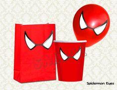 Spiderman Eyes - Spiderman Balloon Stickers - Spiderman Favor bags - Spiderman Cups - Spiderman birthday party (SET of 3 sizes)