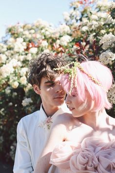 Bride with pink hair | Lara Hotz Photography | see more on http://burnettsboards.com/2014/02/colors-incredible-inspiration-shoot/