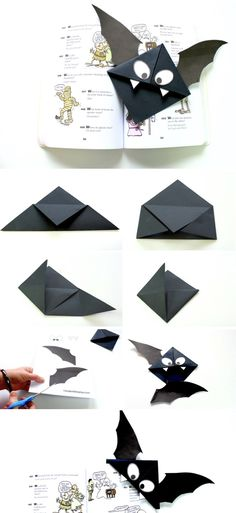 Bat Bookmark – Make Film Play Watch this quick video to see how to make this easy origami bookmark for your Halloween reading! All you need is this free printable which you can download from makefilmplay.com, a square piece of black paper 21cm x 21cm, and some glue to stick the bat together.  #batbookmark #bookmark #origami #kidscrafts #halloween #fallcrafts