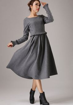 Gray wool dress winter dress maxi dress 764T by xiaolizi on Etsy