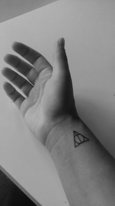 Newest ink : deathly hallows, small tattoo on wrist. Harry Potter !