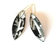 Sylvia Ballerini,  Black & white vitreous enamel earrings