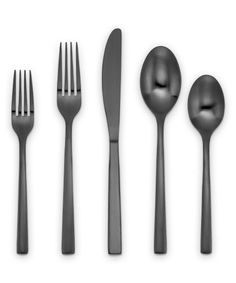 Dress up your tabletop with this black-hued flatware made from stainless steel for long-lasting use and durability. Includes four each of salad forks, dinner forks, knives, tablespoons and teaspoons pieces total)Stainless steelDishwasher-safeImported Kitchen Dinning Room, Stainless Steel Dishwasher, Flatware Set, Black Satin, Make It Simple, Cambridge, Tableware, Tabletop, Gadgets