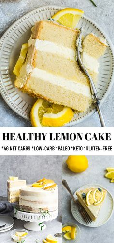 Healthy Lemon Cake This Keto Lemon Cake is deliciously moist, soft and full of bright lemon flavors. This recipe is Sugar Free Desserts, Low Carb Desserts, Gluten Free Desserts, Easy Desserts, Low Carb Cakes, Healthy Lemon Desserts, Gluten Free Diet, Dairy Free, Lemon Recipes
