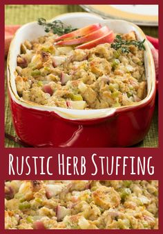 easy herb rubbed roast turkey with stuffing and giblet gravy rustic ...