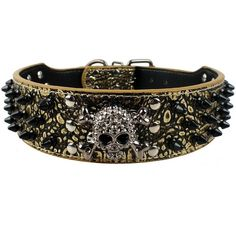 "Berry 2"" Wide Spiked Studded PU Leather Dog Collars for Medium and... ($17) ❤ liked on Polyvore featuring bracelet's"