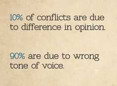 of conflicts are due to difference in opinion. are due to wrong tone of voice. Work Quotes, Daily Quotes, Quotes To Live By, Everyday Quotes, Life Quotes, Workplace Motivation, Work Motivation, Conversation Quotes, Crucial Conversations