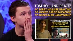 Tom Holland reacts to Tobey Maguire reacting to Andrew Garfield reacting...