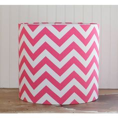 Chevron Pink and White Drum Lampshade ($145) ❤ liked on Polyvore