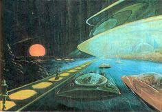 "From Deco to Atom • retrosci-fi:   """"Sunset over Salekhard"",..."