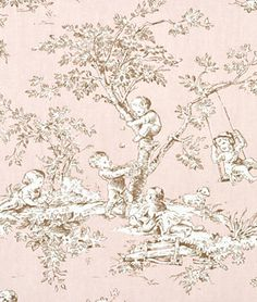 Timelessly Classic and youthful at the same time. Would be a cute table cloth or runner for baby showe. It's P. Kaufmann Central Park Toile Blush Fabric