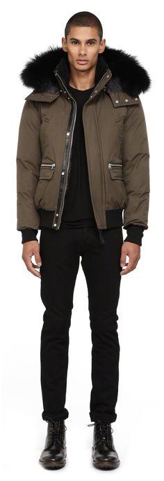 Mackage - COHEN ARMY BOMBER DOWN JACKET FOR MEN WITH REMOVABLE FUR HOOD. www.mackage.com #menswear #fw14 #wintercoat #fur #parka #luxuryouterwear