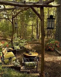 This award winning outdoor space was created by recycling fallen trees, recycled concrete well cover & discarded lum - Modern Design Backyard Gazebo, Backyard Lighting, Backyard Retreat, Backyard Landscaping, Outdoor Lighting, Lighting Ideas, Wooded Backyard Landscape, Forest Garden, Garden In The Woods
