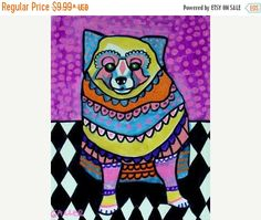 50% Off- Pomeranian Art - Dog Art Pom Modern Art Poster Print of painting by Heather Galler of Painting