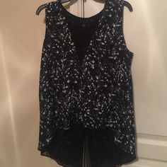 Cute Navy Color Top Lace material on the neckline. Back is longer. Great with some jeans. Chic and stylish! 100% polyester Metaphor Tops Blouses