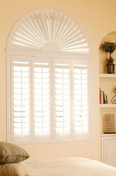The custom window shutters & converings experts at Sunburst Shutters can design the perfect shutters, blinds, and draperies window treatments for your home or office. Arched Window Coverings, Arched Windows, Shaped Windows, Window Blinds, Kitchen Window Treatments, Custom Window Treatments, Interior Exterior, Interior Design, Interior Ideas