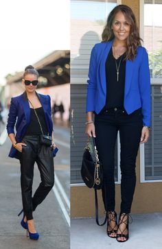 jseverydayfashion.com Bright colored blazers and solid black rest of outfit. Look bold and professional.