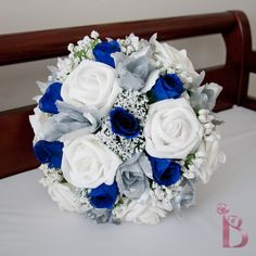 Grand royal style silk wedding bridal bouquet in royal blue and silver (other colors too). $80.00, via Etsy.
