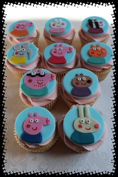 Peppa pig characters all cut by hand and all fondant Pig Cupcakes, Cupcake Cakes, Peppa Pig Cupcake, Cupcake Toppers, Pig Birthday Cakes, Baby Birthday, George Pig Party, Mini Mouse Cake, Cumple Peppa Pig