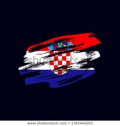 Vector brush painted flag of Republic of Croatia isolated on dark blue background. Frayed and scratched the national symbol of the European country Vector Brush, National Symbols, Dark Blue Background, Flag Vector, Blue Backgrounds, New Pictures, Royalty Free Photos, Flags, Grunge