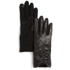 Echo Rouched Sheepskin Leather Tech Gloves (€31) ❤ liked on Polyvore featuring accessories, gloves, black, leather gloves, sheepskin leather gloves, sheepskin gloves and echo gloves