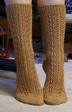 Ravelry: Cable and Lace Socks pattern by Lisa Gubbels Lace Socks, Crochet Socks, Knit Or Crochet, Crochet For Kids, Crochet Ideas, Knitted Slippers, Crochet Granny, Cable Knitting Patterns, Lace Knitting
